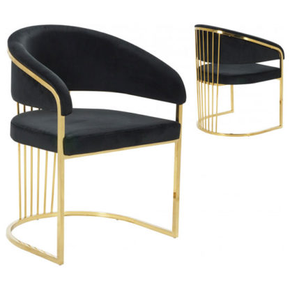 An Image of Longi Black Velvet Dining Chair In Pair With Gold Legs