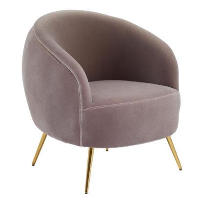 An Image of Intercrus Velvet Upholstered Armchair In Mink