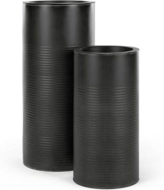 An Image of Dayo Set Of Two Tall Ribbed Planters, Black