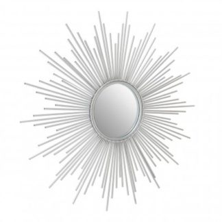 An Image of Crystals Sunburst Design Wall Bedroom Mirror In Silver Frame