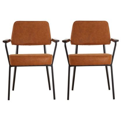 An Image of Kekoun Vintage Camel Faux Leather Armchairs In Pair