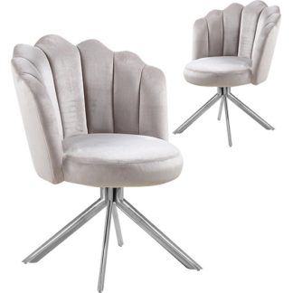 An Image of Mario Brown Velvet Dining Chairs In Pair With Silver Legs