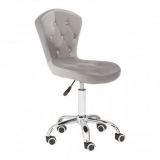An Image of Detra Rolling Home And Office Velvet Chair In Grey