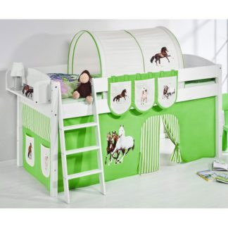 An Image of Lilla Children Bed In White With Horses Green Curtains