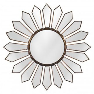 An Image of Varian Petal Wall Bedroom Mirror In Gold Frame