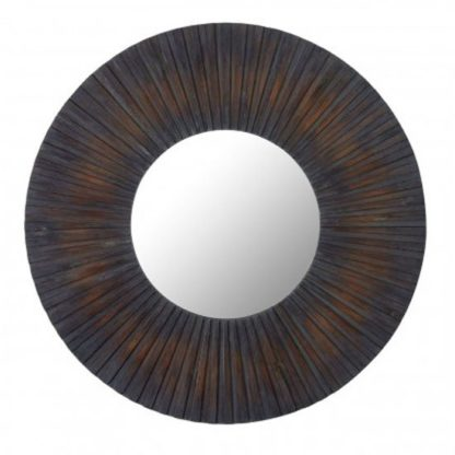 An Image of Burner Round Wall Bedroom Mirror In Antique Frame