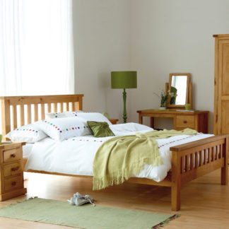 An Image of Cyprian Wooden Double Bed In Chunky Pine