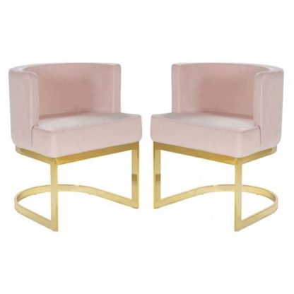 An Image of Lauro Pink Velvet Dining Chairs In Pair With Gold Legs
