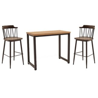 An Image of Hinrik Wooden Bar Table With 2 Blake Bar Stools In Rustic Elm