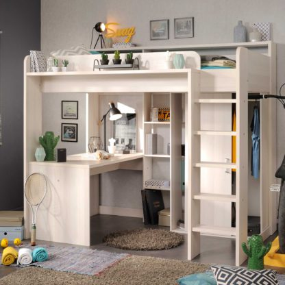 An Image of Marley Childrens Highsleeper with Wardrobe, Desk and Bookcase