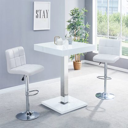 An Image of Topaz Glass Bar Table In White Gloss With 2 Coco White Stools