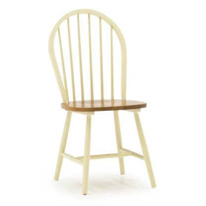 An Image of Windsor Wooden Dining Chair In Buttermilk
