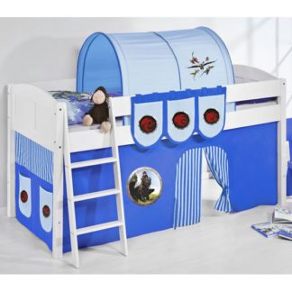 An Image of Hilla Children Bed In White With Dragons Blue Curtains