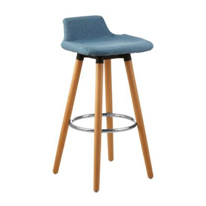 An Image of Porrima Fabric Seat Bar Stool In Blue