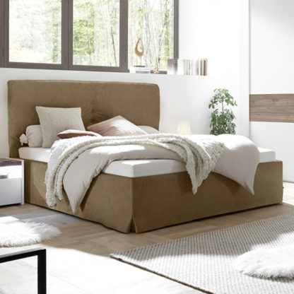 An Image of Civics Faux Leather Storage Double Bed In Tobacco Effect