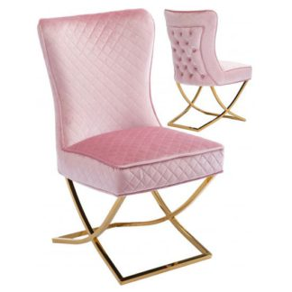 An Image of Lorenzo Pink Velvet Dining Chairs In Pair With Gold Legs