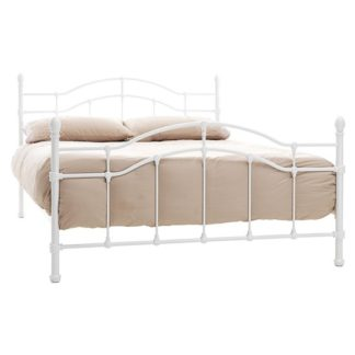 An Image of Paris Metal Double Bed In White Gloss