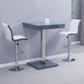 An Image of Topaz Glass Bar Table In Grey With 2 Ritz White Grey Stools