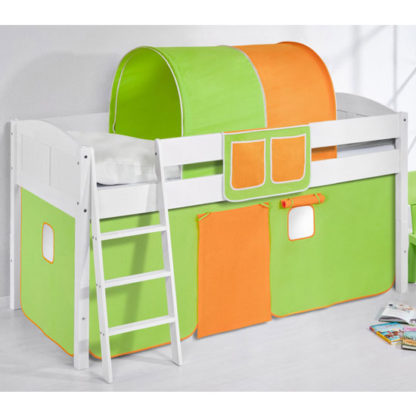 An Image of Hilla Children Bed In White With Green Orange Curtains