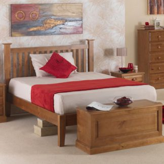 An Image of Herndon Wooden Double Bed In Lacquered