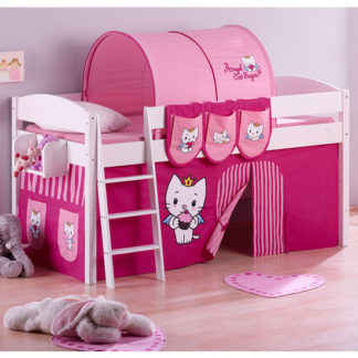 An Image of Lilla Children Bed In White With Angel Cat Sugar Curtains