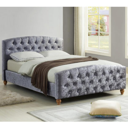 An Image of Millbrook Crushed Velvet Double Bed In Silver