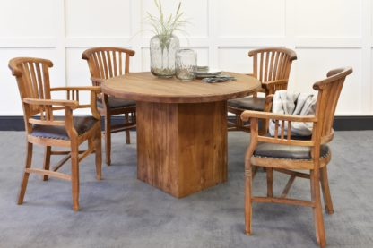 An Image of Megan Round Dining Table & Langley Carver Chairs Bundle