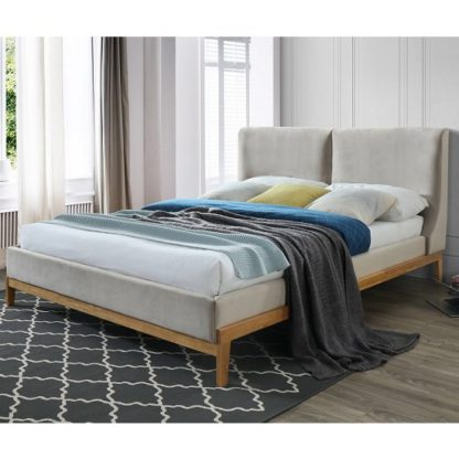 An Image of Energy Fabirc Double Bed In Coffee With Wooden Frame