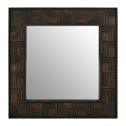 An Image of Sutra Square Wall Bedroom Mirror In Weathered Brown Frame