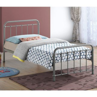 An Image of Miami Victorian Style Metal Single Bed In Pebble