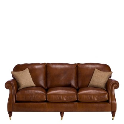 An Image of Parker Knoll Meredith Leather Grand Sofa, London Saddle