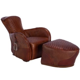 An Image of Timothy Oulton Leather Saddle Chair and Footstool