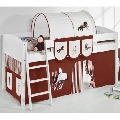 An Image of Hilla Children Bed In White With Horses Brown Curtains