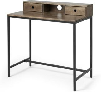 An Image of Lomond Compact Desk, Mango Wood & Black