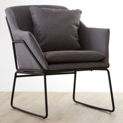 An Image of Porrima Fabric Upholstered Bedroom Chair In Grey