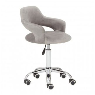 An Image of Civo Home And Office Velvet Chair In Grey With Curved Back