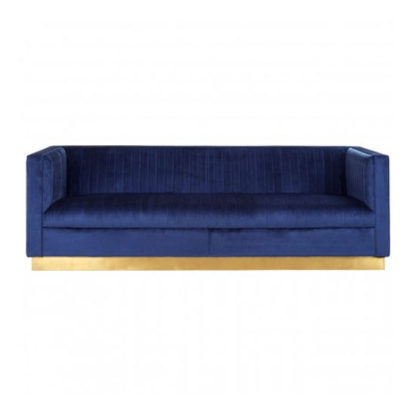 An Image of Opals 3 Seater Velvet Sofa In Deep Blue