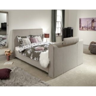 An Image of Vizzini Pneumatic Fabric Double TV Bed In Light Grey