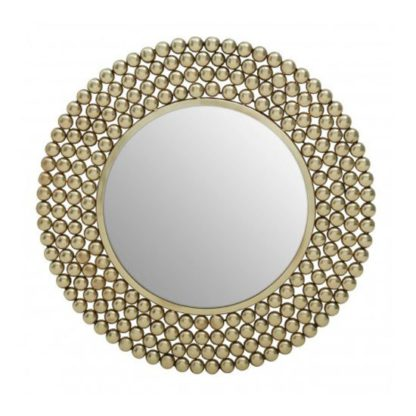An Image of Templars Beaded Effect Wall Bedroom Mirror In Gold Frame