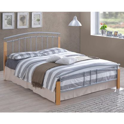 An Image of Tetron Metal Double Bed In Silver With Beech Wooden Posts