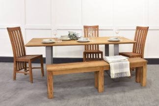 An Image of Culham Dining Table, Geneva Chairs & Bench Bundle