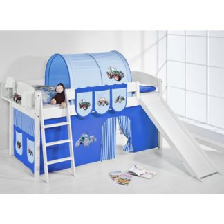 An Image of Lilla Slide Children Bed In White With Tractor Blue Curtains