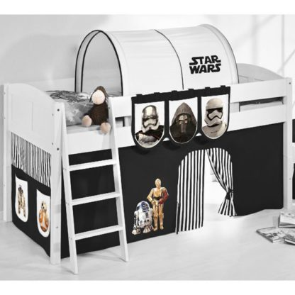 An Image of Hilla Children Bed In White With Star Wars Black Curtains