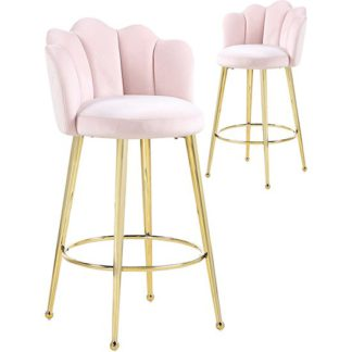 An Image of Mario Pink Velvet Bar Stools In Pair With Gold Legs