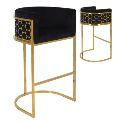 An Image of Meta Black Velvet Bar Stools In Pair With Gold Legs