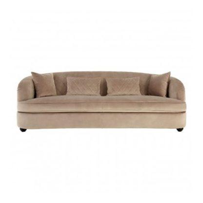 An Image of Fijian 3 Seater Velvet Sofa In Mink