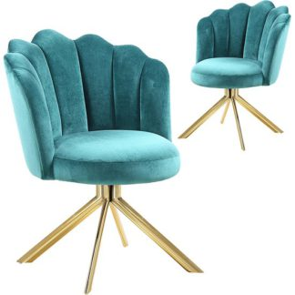 An Image of Mario Green Velvet Dining Chairs In Pair With Gold Legs