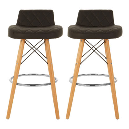 An Image of Porrima Black Faux Leather Bar Stools With Natural Legs In Pair