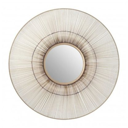 An Image of Templars Fluted Effect Wall Bedroom Mirror In Gold Frame