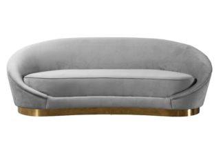 An Image of Selini Three Seat Sofa - Dove Grey Brass Base